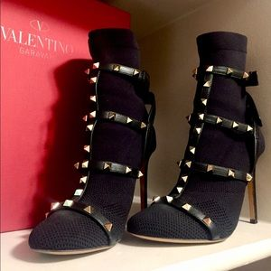 Authentic Valentino black rock stud booties